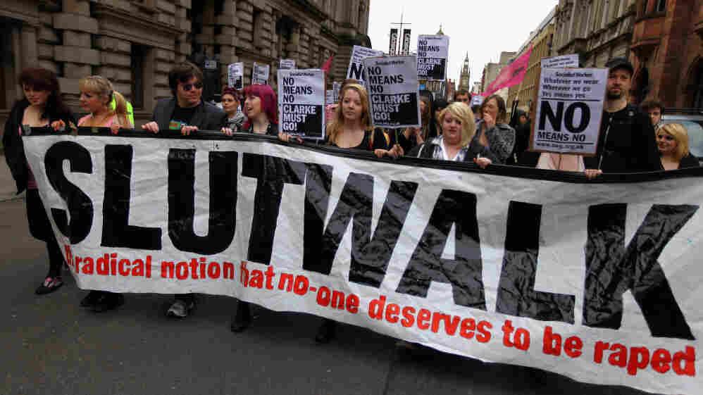 Demonstrators march in the 'Slutwalk' in Glasgow, United Kingdom on June 4, 2011