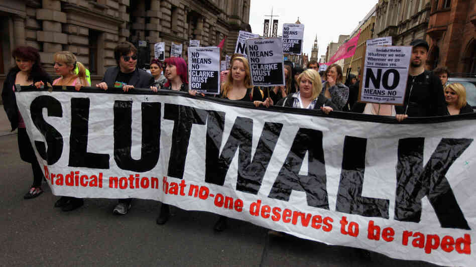 Demonstrators march in the 'Slutwalk' in Glasgow, United Kingdom on June 4, 2011