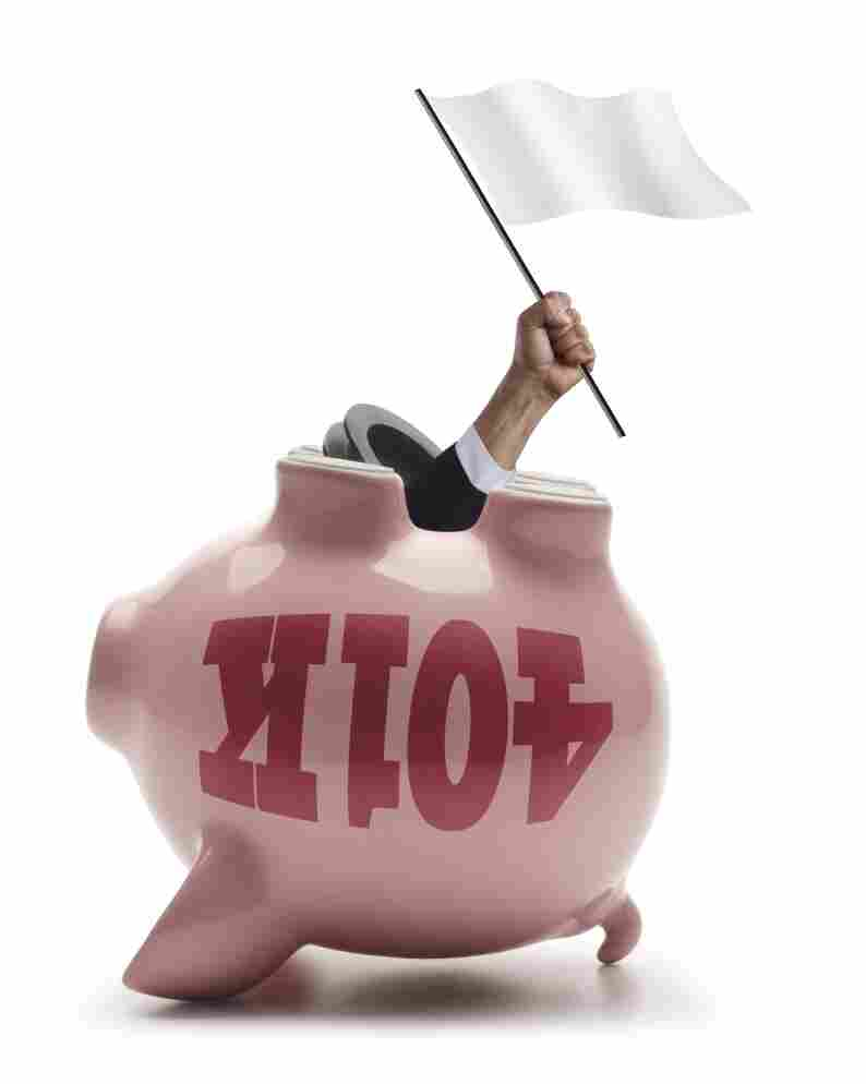 The upside down piggy bank is a symbolic look at the destruction of retirement savings.