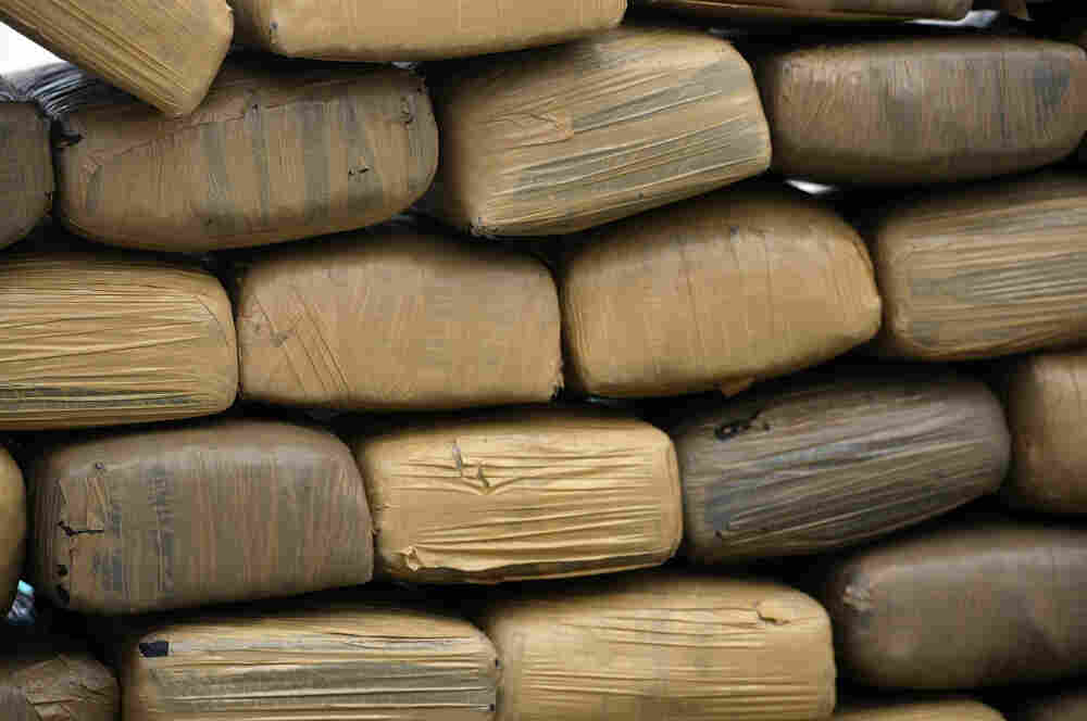 Bricks of confiscated marijuana are stacked in Miami Beach, Florida in September of 2009.