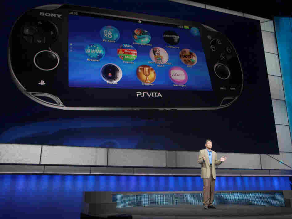 Kazuo Hirai, head of Sony Computer Entertainment, introduces the company's next generation portable gaming machine, PlayStation Vita, during a news conference at the E3 Gaming Convention in Los Angeles on Monday.