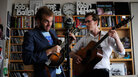 Chris Thile, left performs with Michael Daves at NPR headquarters in Washington, DC for a Tiny Desk Concert on Monday May 23, 2011.