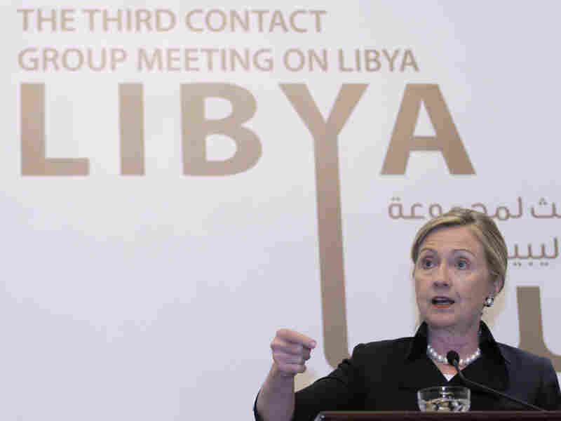 Secretary of State Hillary Rodham Clinton speaking at a news conference in Abu Dhabi on Thursday, following the Third Contact Group Meeting on Libya.