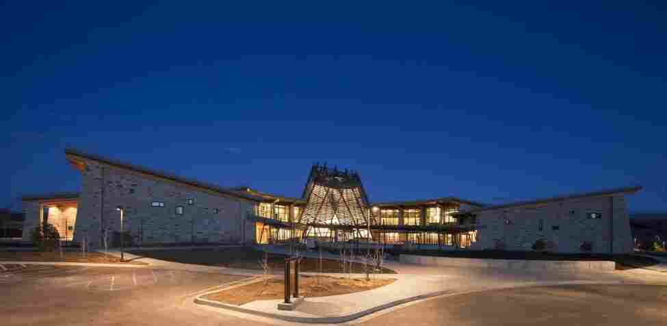 With its upward-sloping wings, the new Southern Ute Museum and Cultural Center is designed to resemble an eagle, a sacred symbol for the tribe.