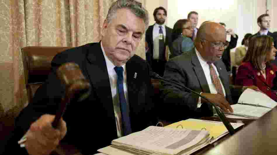 Republican Rep. Peter King of New York, chairman of the House Committee on Homeland Security, gavels to order the first in a series of hearings on radicalization in the American Muslim community.