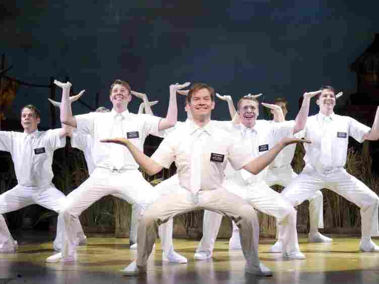 Rory O'Malley (center), who plays Elder McKinley in The Book of Mormon, is favored to win a Tony for Best Featured Actor in a Musical.