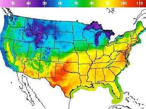 High temperatures hit a broad section of the U.S. on Thursday.