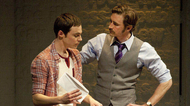 Jim Parsons as Tommy Boatwright, left, and Lee Pace as Bruce Niles, in the Broadway revival of Larry Kramer's The Normal Heart.