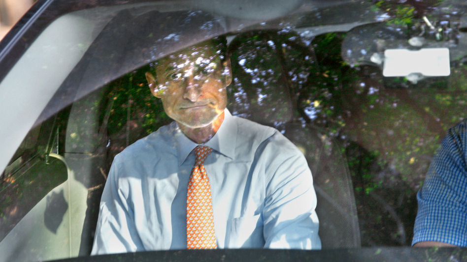 Democratic Rep. Anthony Weiner leaves his home in the New York borough of Queens on Friday morning.
