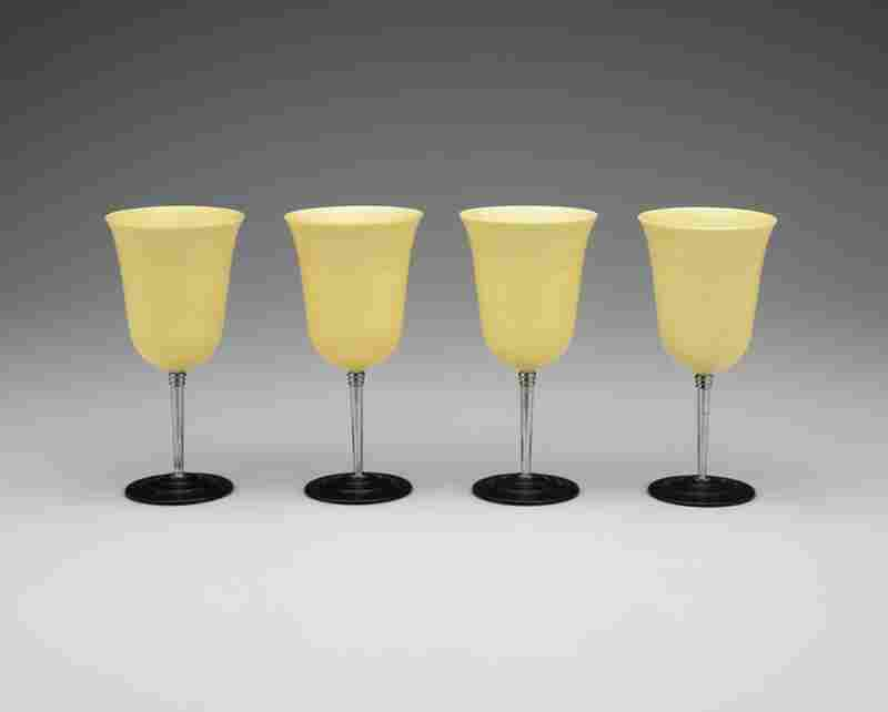 Nudawn cocktail cups, 1930sCatalin Corporation plastic, chrome