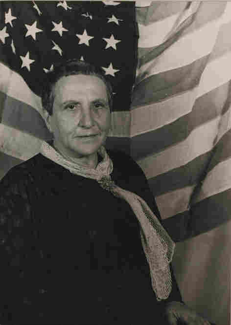 Gertrude Stein with American Flag, 1935