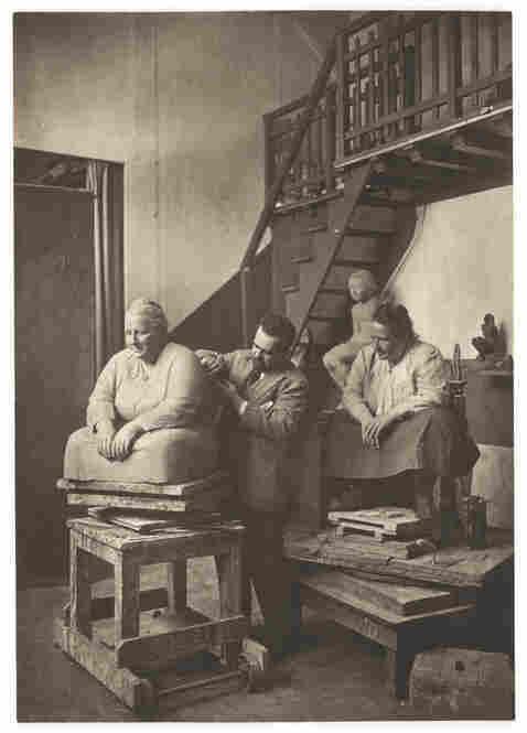 Gertrude Stein posing for Jo Davidson, 1922