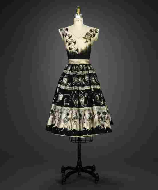 Ensemble, 1950s, designer unknown, possibly of Mexican originCotton, sequins, plain weave, printed, hand painted, embroidered