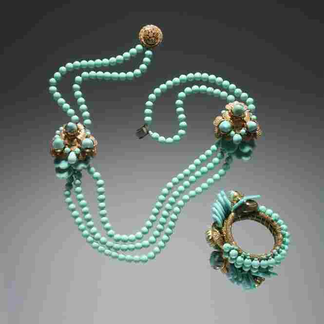 Necklace and bracelet set, 1940, by Miriam Haskell and Frank HessGold plated metal, pate-de-verre/amazonite and Indian sapphire