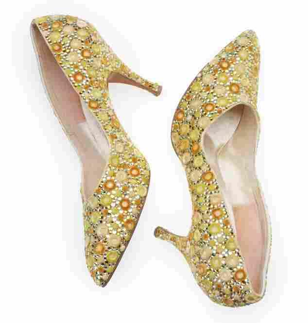 Shoes, 1960s, Saks Fifth AvenueSilk, rhinestone, satin weave, cut warp pile, embellished