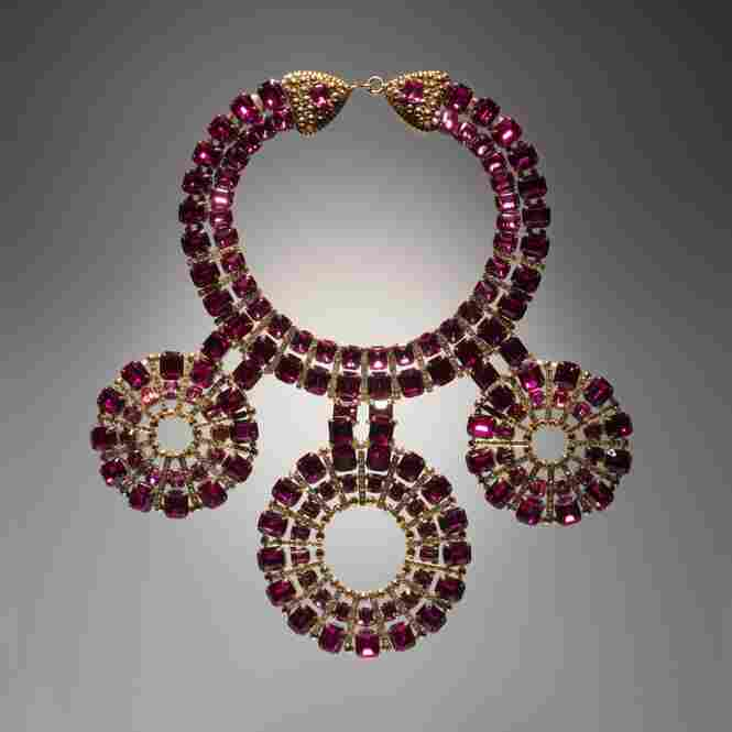 Necklace with three circular pendants, 1970, by Coppola e Toppo for ValentinoGold-plated metal, metal beads, Swarovski crystals, rhinestones