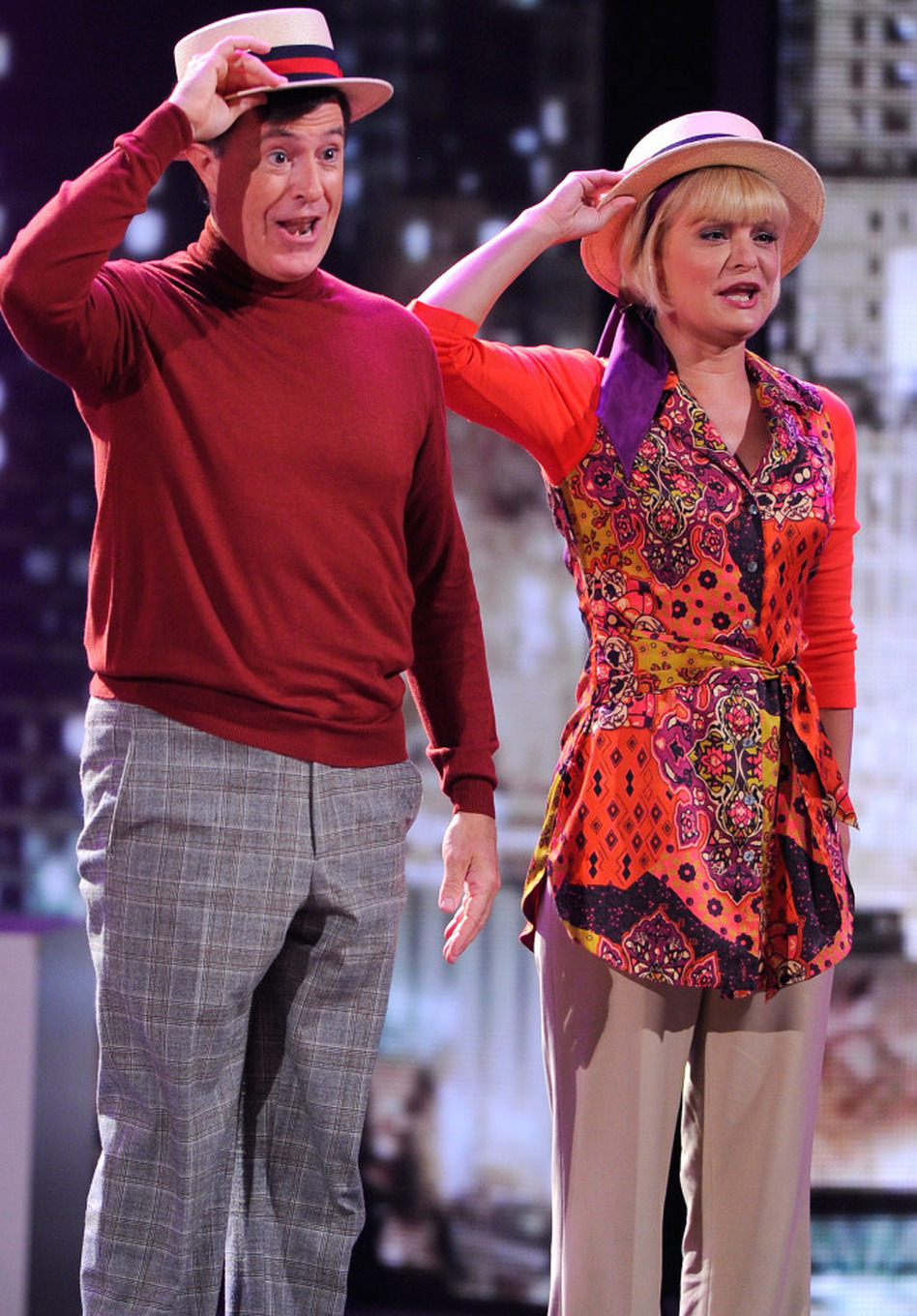Stephen Colbert and Martha Plimpton perform a song from <em>Company </em>on stage during the 65th annual Tony Awards. (Andrew H. Walker/Getty Images)