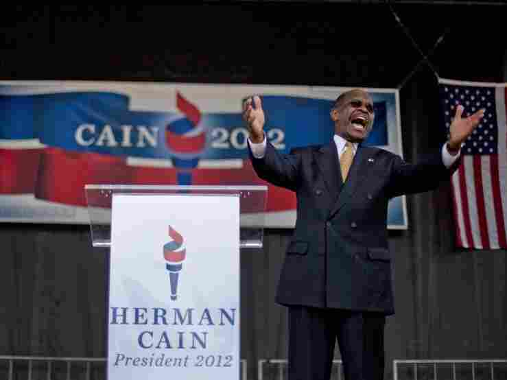 Herman Cain announces his run for Republican candidate for president at a May 21, 2011 rally in Atlanta. Cain has run a pizza chain, hosted a talk radio show and sparred with Bill Clinton over health care.