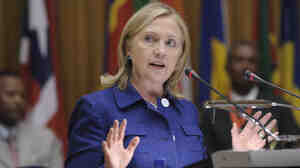 Secretary of State Hillary Clinton speaks at African Union headquarters in Addis Ababa, Ethiopia, on Monday.