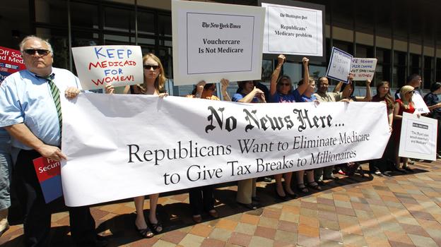 Dozens of Medicare advocates gather outside the Newseum in Washington, D.C., on Monday. (AP)