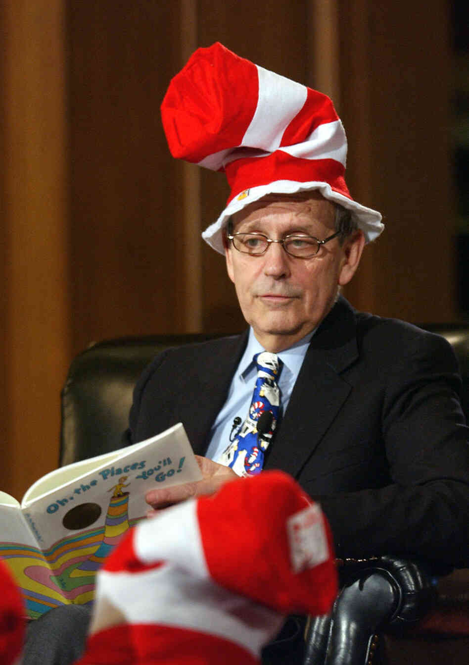March 2 is Dr. Seuss Day, also known as Read Across America Day. In 2003, Supreme Court Justice Stephen Breyer, sporting a Cat in the Hat hat helped celebrate the day by reading Dr. Seuss's Oh, the Places You'll Go! to elementary school students in Washington, D.C.