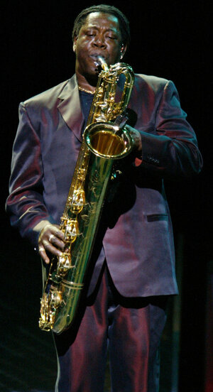 Clarence Clemons during a 2002 show in East Rutherford, N.J.