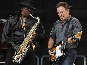 "In this 2009 file photo, Bruce Springsteen, right, and saxophonist  Clarence  Clemons  perform during the first German concert of his ""Working On A Dream"" European tour in the Olympic stadium in Munich."