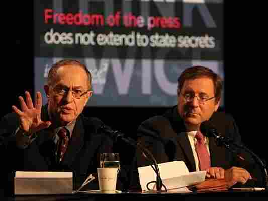 "Alan Dershowitz (left) and David Sanger argued against the motion ""Freedom of the Press Does Not Extend to State Secrets."""