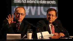 """Alan Dershowitz (left) and David Sanger argued against the motion """"Freedom of the Press Does Not Extend to State Secrets."""""""
