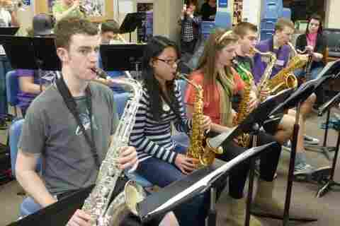 Students at Seattle-area Jackson High School practice in the jazz band.