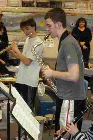 Each school is paired with a professional jazz artist, who gives them tips and pointers.