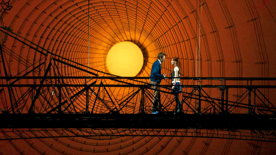 Reeve Carney (left) as Peter Parker and Jennifer Damiano as Mary Jane Watson on the Spider-Man set at the Foxwoods Theatre. Carney previously starred in Taymor's film  The Tempest; Damiano earned a Tony nomination in 2009 for her performance in Next to Normal.