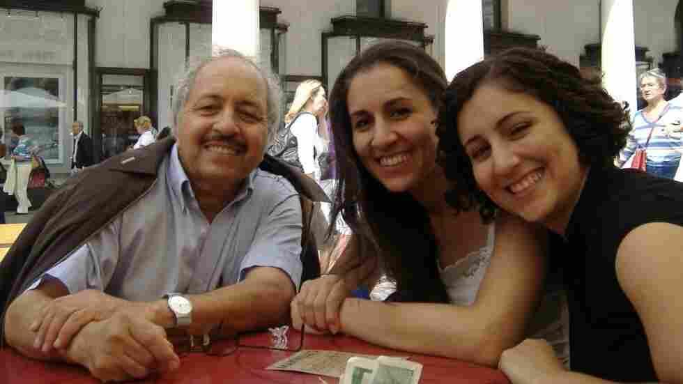 Faramarz Meshkinpour and his daughters.