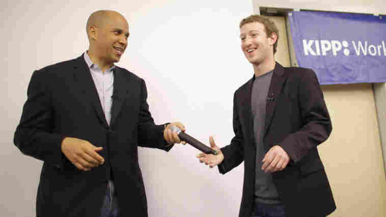 Newark Mayor Cory Booker and Facebook CEO Mark Zuckerberg  in Newark, N.J., last fall. Zuckerberg donated $100 million to improve local schools, but some are worried the money will be funneled to the wrong places.