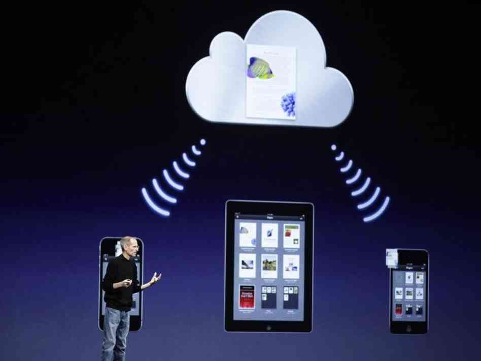 Apple CEO Steve Jobs talks about iCloud at the Worldwide Developers Conference June 6 in San Francisco.