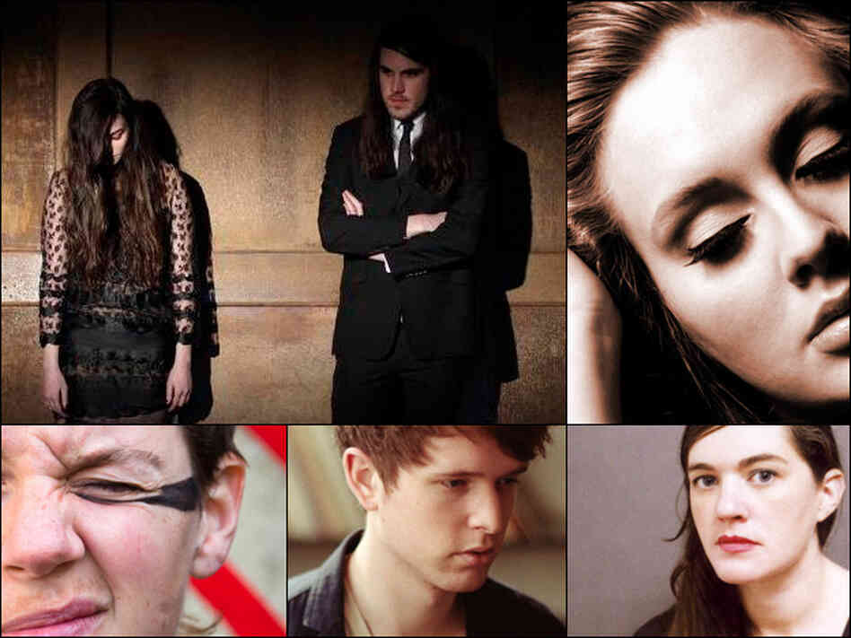 Clockwise from upper left:  Madeline Fallin and Brian Oblivion of Cults, Adele, Julianna Barwick, James Blake and Merrill Garbus of tUnE-yArDs.