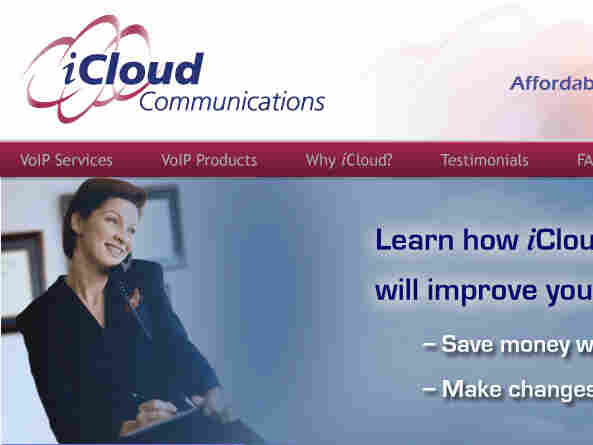 The website of iCloud Communications, which is suing Apple over the use of the name iCloud.