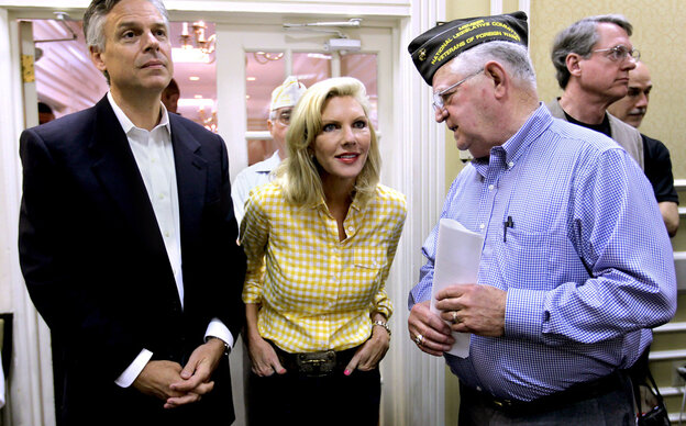 Jon Huntsman and wife Mary Kaye at the New Hampshire VFW convention in Nashua, N.H., Saturday, June 11, 2011.