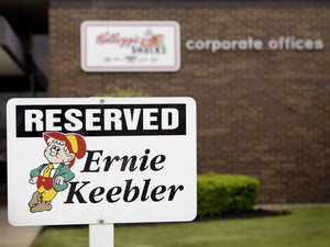 A sign marks the parking space for head elf Ernie Keebler at the Keebler corporate of