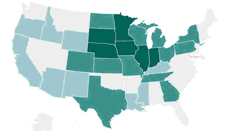 Map of the United States, breaking down ethanol production by state.