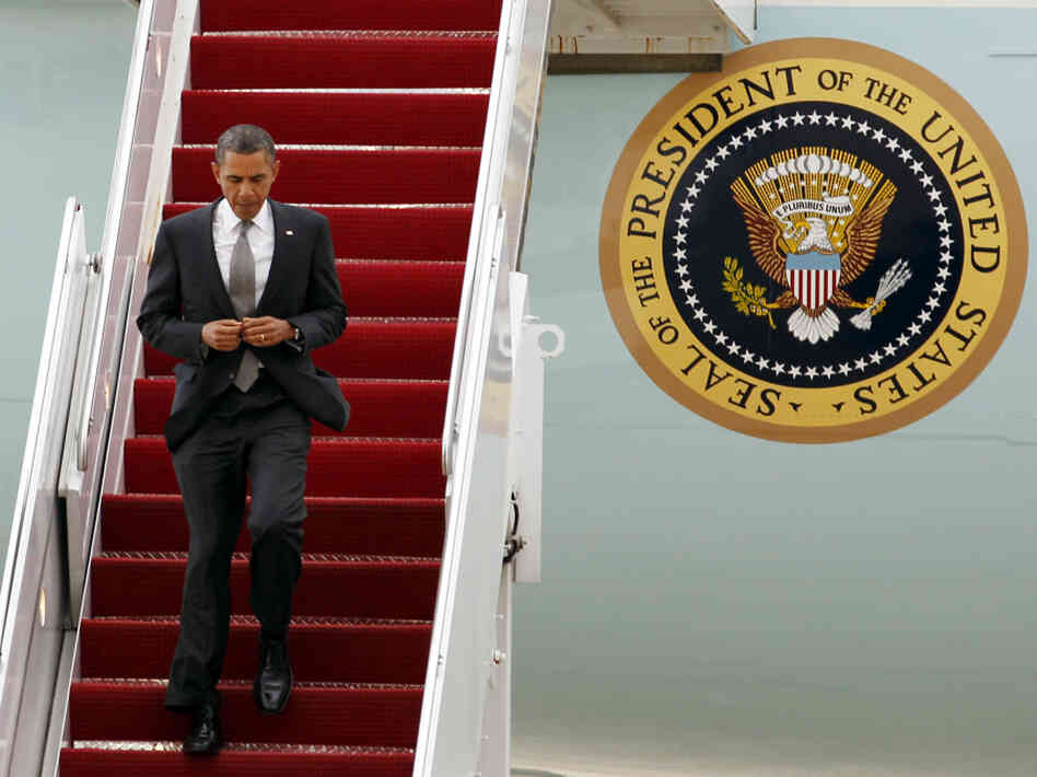 President Barack Obama walks down the stairs from Air Force One upon arrival from Puerto Rico on Tuesday. Obama is the first president since John F. Kennedy to visit the commonwealth.