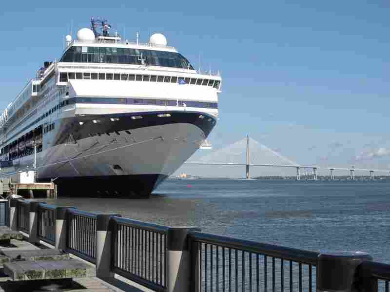 """For the first time, the National Trust for Historic Preservation has placed a site on """"Watch Status."""" The entire city of Charleston, S.C., has been identified as a potentially endangered site because the expanding cruise ship industry threatens the character of the historic port city. Above, a cruise liner makes a port call in Charleston in January 2010."""