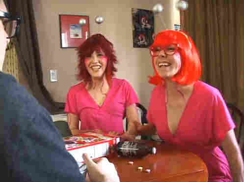 Tara Billinger (left) and Kali Fontecchio star as endlessly amused aliens in Gigglers, which premiered at Channel 101 in May 2011.