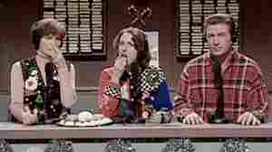 "A screenshot from a Saturday Night Live skit about an NPR show called ""Delicious Dish."""