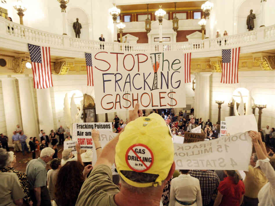 An environmental clean water protester participates in a rally at the Pennsylvania state capitol in Harrisburg against the drilling of the Marcellus Shale natural gas formation.