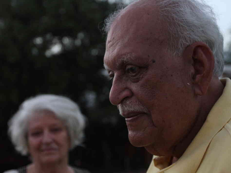 Novelist Jamil Ahmad. His wife, Helga, is in the background.