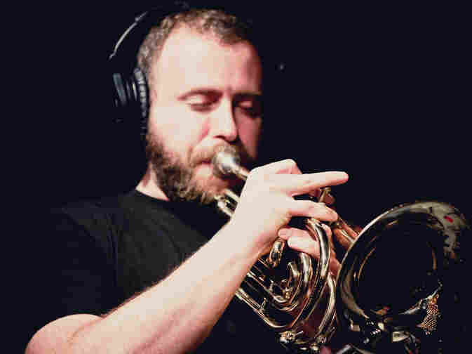 Jon Natchez, in a KEXP studio with his band Yellow Ostrich, in March.