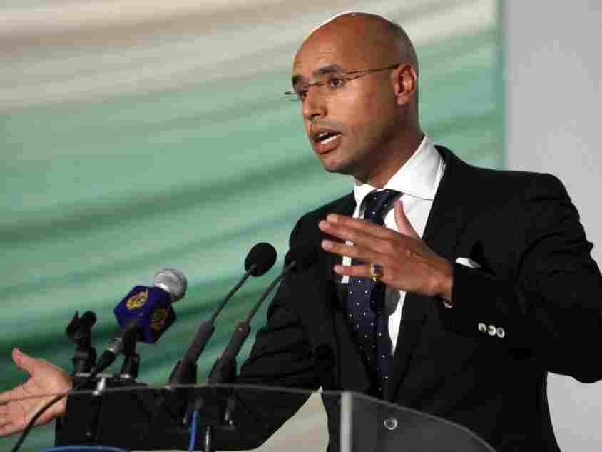 Saif al-Islam Gadhafi, son of Libyan leader Moammar Gadhafi, speaks in the capital Tripoli in 2008.