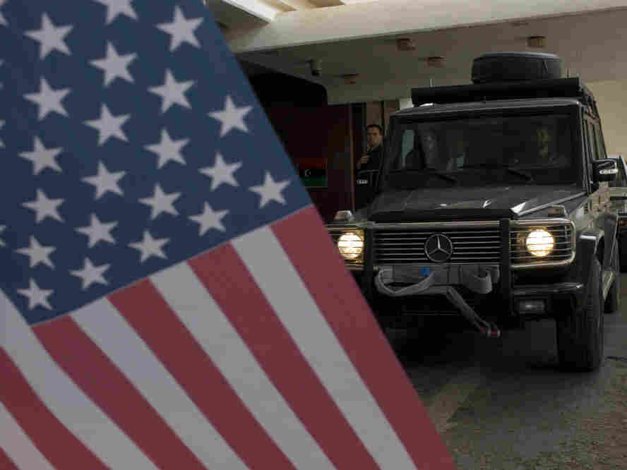 Sen. John McCain's convoy leaves the Tebisty Hotel in Benghazi, Libya in April 2011. McCain's national security hawkishness is shared by fewer Republicans.