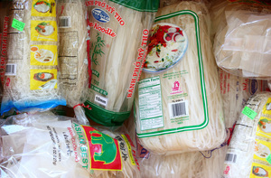 An assortment of packaged rice noodles